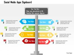 Social Media Apps Signboard Flat Powerpoint Design