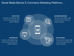 Social Media Banner E Commerce Marketing Platforms With Icons