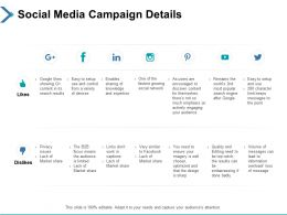 Social Media Campaign Details Management Ppt Powerpoint Presentation Show