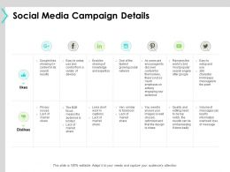 Social Media Campaign Details Social Network Ppt Powerpoint Presentation Show Shapes