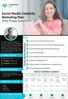 Social Media Celebrity Marketing Plan One Page Summary Presentation Report Infographic PPT PDF Document