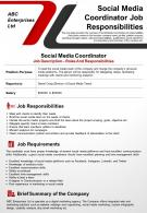 Social Media Coordinator Job Responsibilities Presentation Report Infographic PPT PDF Document