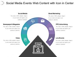 Social Media Events Web Content With Icon In Center