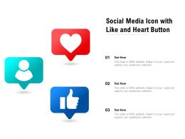 Social Media Icon With Like And Heart Button