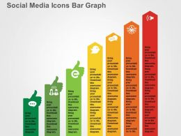 Social Media Icons Bar Graph Flat Powerpoint Design