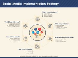 Social Media Implementation Strategy Compelling Story Ppt Powerpoint Presentation Deck