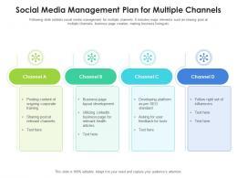 Social Media Management Plan For Multiple Channels