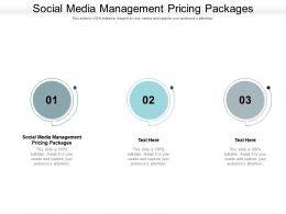 Social Media Management Pricing Packages Ppt Powerpoint Presentation Show Cpb