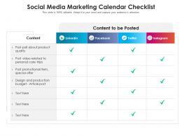 Social Media Marketing Calendar Checklist