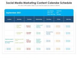 Social Media Marketing Content Calendar Schedule