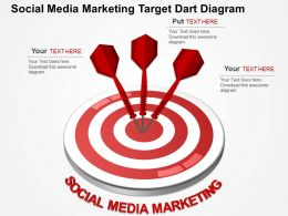 Social Media Marketing Target Dart Diagram Flat Powerpoint Design