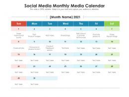 Social Media Monthly Media Calendar