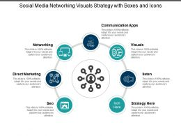 Social Media Networking Visuals Strategy With Boxes And Icons