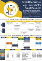 Social Media One Page Calendar For Small Business Presentation Report Infographic PPT PDF Document