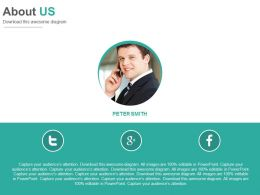 Social Media Profile For About Us Powerpoint Slides