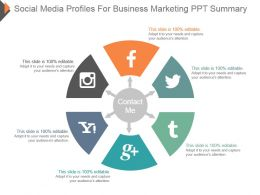 Social Media Profiles For Business Marketing Ppt Summary