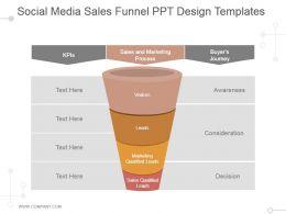 Social Media Sales Funnel Ppt Design Templates
