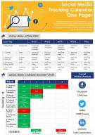 Social Media Tracking Calendar One Pager Presentation Report Infographic PPT PDF Document