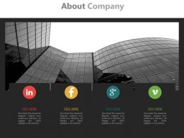 Social Profile For Company And About Us Powerpoint Slides