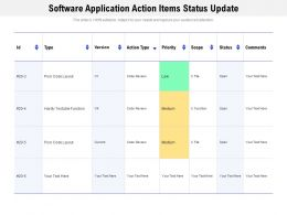 Software Application Action Items Status Update