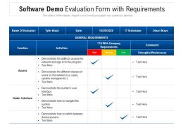 Software Demo Evaluation Form With Requirements