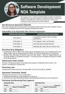 Software Development NDA Template Presentation Report Infographic PPT PDF Document