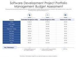 Software Development Project Portfolio Management Budget Assessment