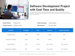 Software Development Project With Cost Time And Quality