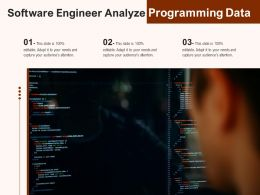 Software Engineer Analyze Programming Data