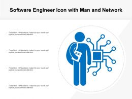 Software Engineer Icon With Man And Network