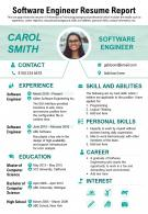 Software Engineer Resume Report presentation Report Infographic PPT PDF Document