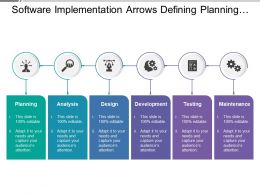 Software Implementation Arrows Defining Planning Design And Maintenance