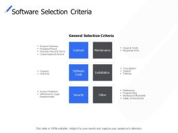 Software Selection Criteria Maintenance Security Ppt Powerpoint Presentation Ideas Gallery