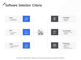 Software Selection Criteria Service Functionality Ppt Powerpoint Presentation Ideas Icon