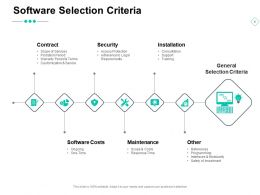 Software Selection Criteria Software Costs Installation Security Ppt Powerpoint Presentation Ideas Show