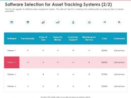 Software Selection For Asset Tracking Systems Ppt Powerpoint Presentation Pictures Templates
