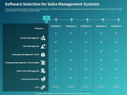 Software Selection For Sales Management Systems Ppt Powerpoint Presentation Show Portfolio