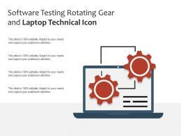 Software Testing Rotating Gear And Laptop Technical Icon