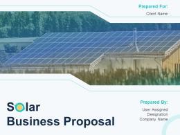 Solar Business Proposal Powerpoint Presentation Slides