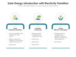 Solar Energy Introduction With Electricity Transition