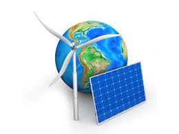 Solar Panel And Windmill With Globe Stock Photo