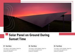 Solar Panel On Ground During Sunset Time