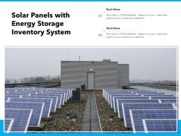 Solar Panels With Energy Storage Inventory System