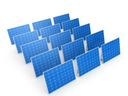 Solar Panels With White Background Stock Photo