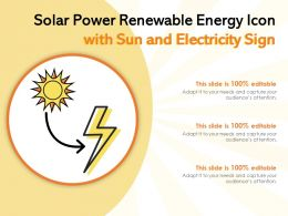 Solar Power Renewable Energy Icon With Sun And Electricity Sign