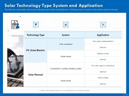 Solar Technology Type System And Application PV Ppt Powerpoint Presentation Icon