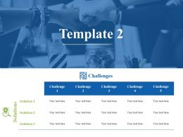 Solution And Challenges Template Ppt Visual Aids Summary