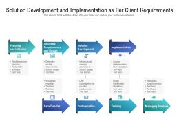 Solution Development And Implementation As Per Client Requirements