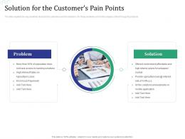 Solution For The Customers Pain Points Investment Pitch Raise Funds Financial Market Ppt File