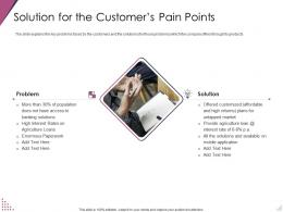 Solution For The Customers Pain Points Pitch Deck For After Market Investment Ppt Infographics